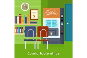 Office Interior Concept Vector In Flat Design.