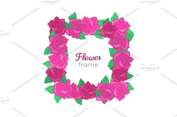 Flower Frame Squar Wreath Of Different Blossoms