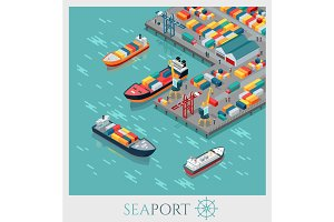 Isometric Commercial Sea Port.