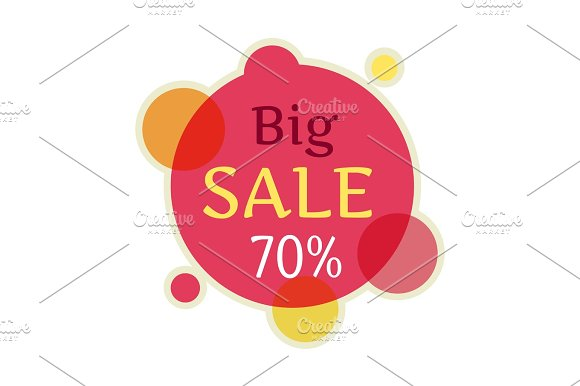 Big Sale Round Banner Isolated 70 Percent