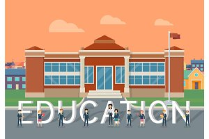 School Education Flat Style Vector Concept