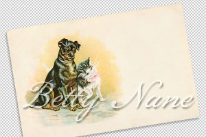 vtg greetings, cat & dog