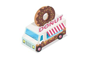Donut Trolley in Isometric Projection. Doughnut