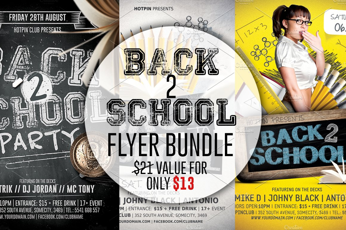 College school party flyer flyer templates creative market back to school flyer template bundle monicamarmolfo Images