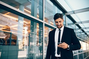 Business executive with mobile