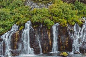 Beautiful Waterfall and Dark Rocks
