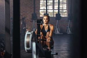 Athlete exercising in gym