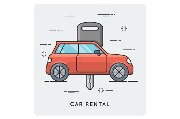 Car rental. Thin line concept.