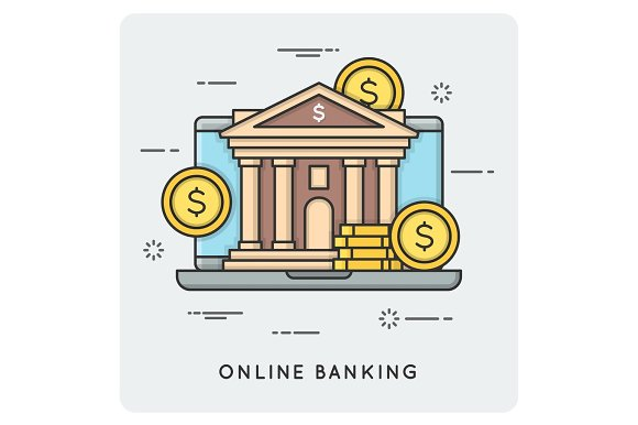 Online Banking Thin Line Concept