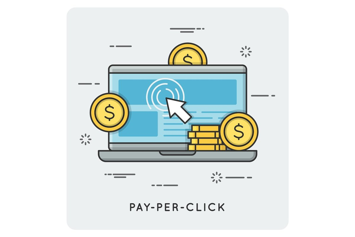 Pay per click. Thin line concept.