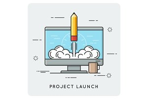 Project launch and start up. Thin line concept.