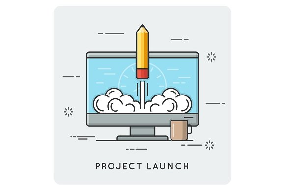 Project Launch And Start Up Thin Line Concept