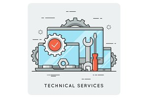 Technical services. Thin line concept.