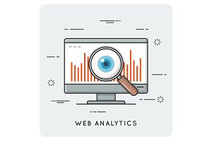 Web analytics. Thin line concept.