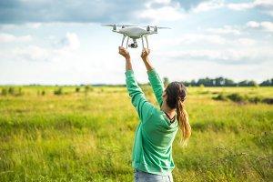 girl with drone phantom