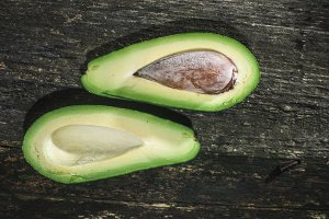 Avocado on wood