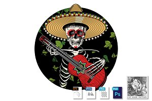 Sugar skull playing Spanish guitar
