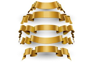 Gold Glossy vector ribbons
