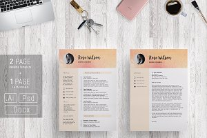 Sweet Watercolor Resume Template /G