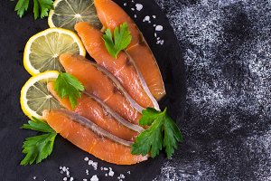 Sliced salted salmon