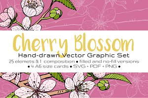 Cherry Blossom Graphic Set