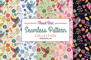 Seamless Pattern Floral Bird Set