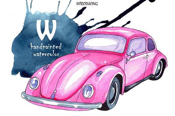 W Watercolor Illustration