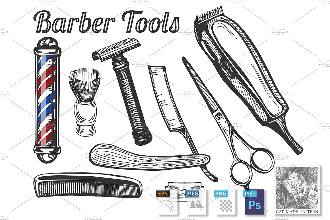 Barber tools set ~ Illustrations ~ Creative Market