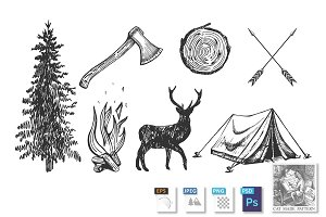 Camping hand drawn symbols set