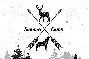 Forest landscape with camp emblem