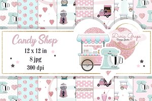"Digital Paper ""Candy Shop"""