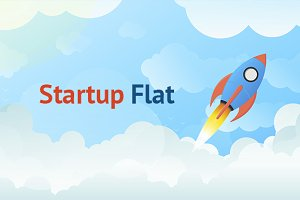 Tech Startup Rocket in Flat Vector