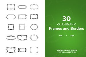 30 Calligraphic Square Frames Vector