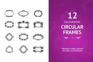 12 Round Calligraphic Frames Vintage