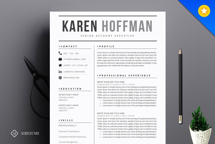 Modern Resume Template ~ Resume Templates ~ Creative Market