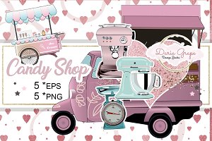 Retro Candy Clipart, Vector EPS