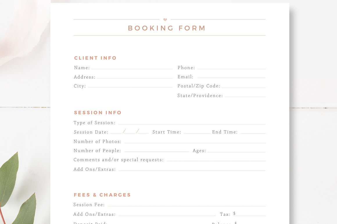 Client Booking Form For Photographer Flyer Templates Creative Market