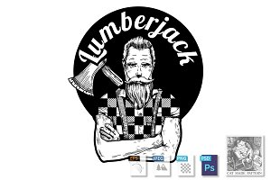 Lumberjack black and white portrait