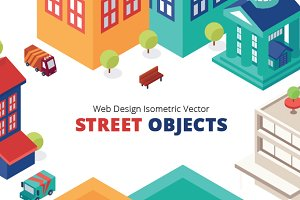 Isometric City Building Icons Vector