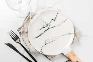 Set of cutlery on marble table
