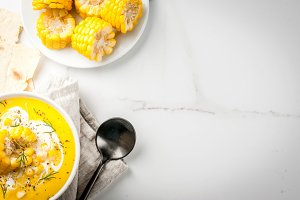Traditional autumn corn soup