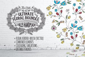 Hand-Drawn Vintage Floral DIY Kit
