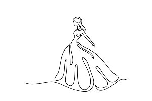 Silhouette of a slender bride in long dress