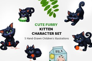 5 Cute Hand-Drawn Kitten Characters