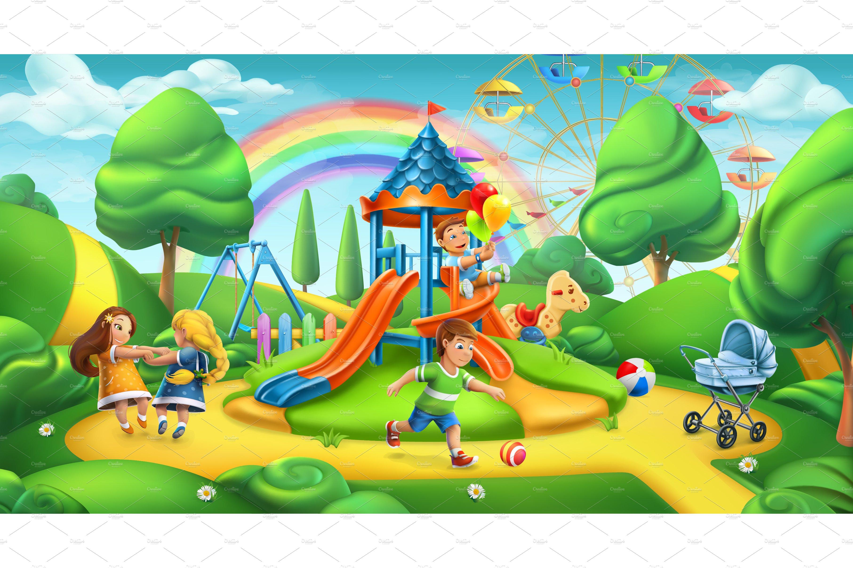 Children playground 3d vector illustrations creative - A live nature wallpaper ...