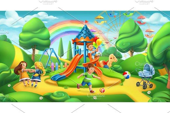 Children Playground 3D Vector