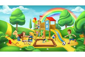 Children playground, 3d vector