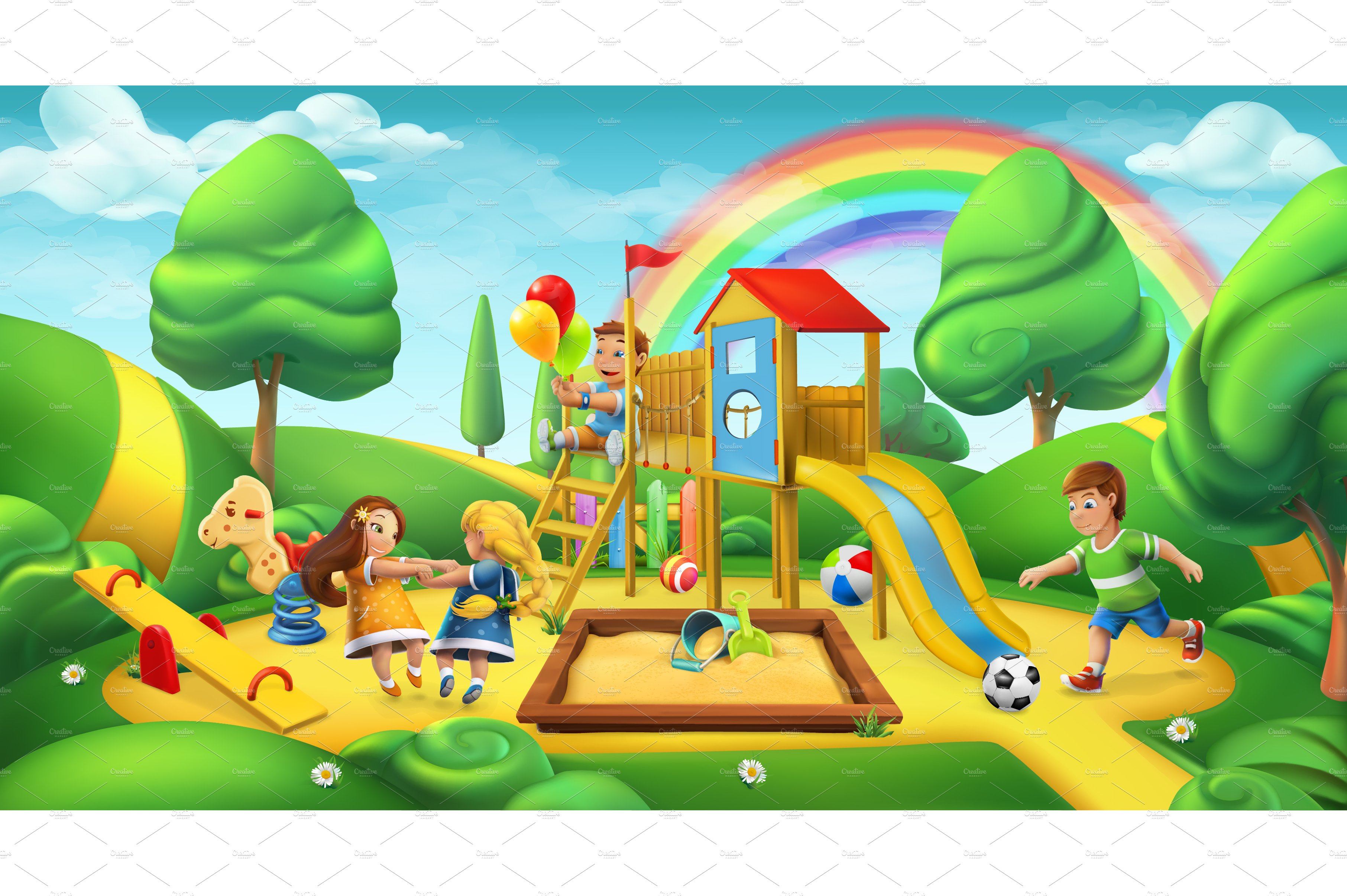 Children playground, 3d vector ~ Illustrations ~ Creative ...