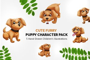5 Cute Hand-Drawn Puppy Characters