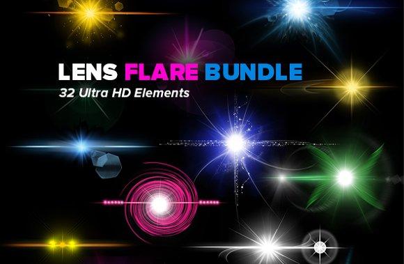 32 HD Optical Lens Flares Stars